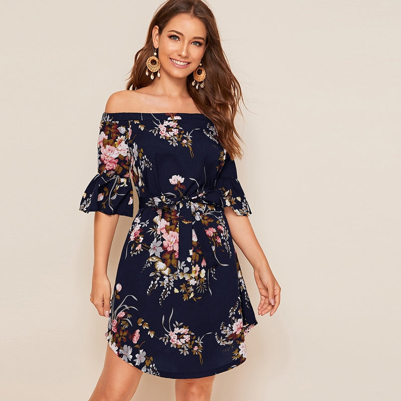 Self Tie Floral Print Curved Hem Bardot Dress