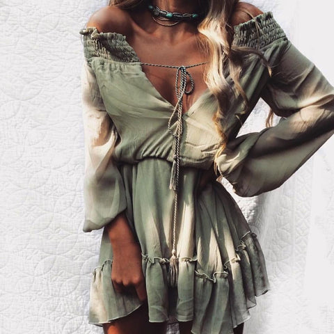 vintage dress Off shoulder long sleeve beach summer dress