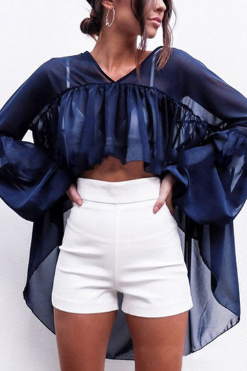 Navy V-Neck Ruffle Design Drop Lantern Sleeve Top