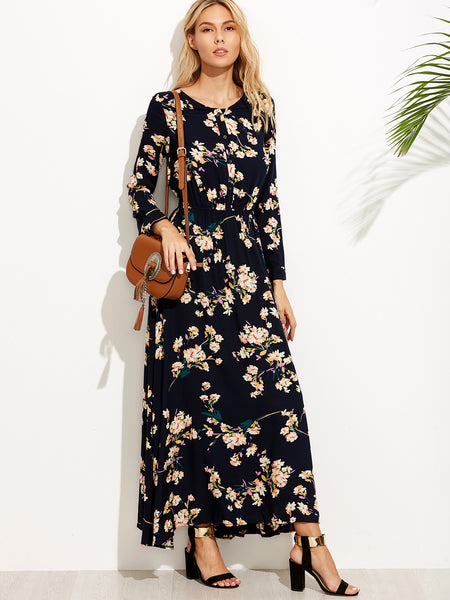 Navy Floral Print Button Front Dress