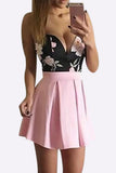 Black and Pink Floral Print Skater Skirt Mini Dress