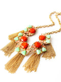 Red Stone Bohemia Tassel Necklace - Crystalline