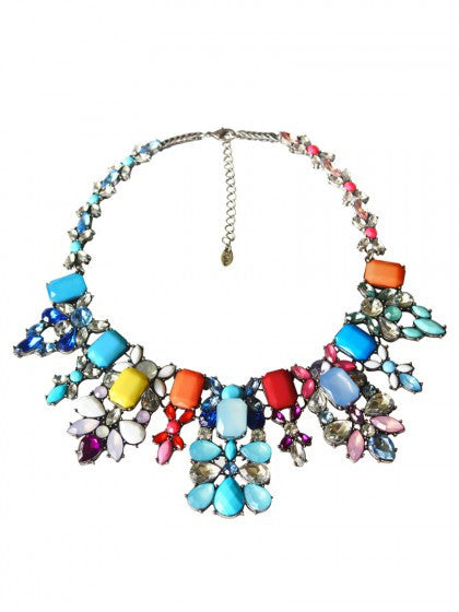 Gradient Colorful Stone Rhinestone Statement Necklace - Crystalline