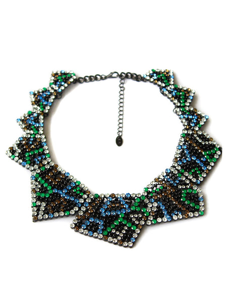 Colorful Rhinestone Triangle Collar Necklace - Crystalline