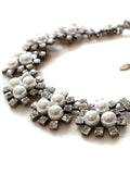 Rhinestone Pearly Geometry Collar Necklace - Crystalline