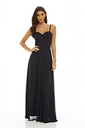Navy Spaghetti Strap Crochet Bustier Top Pleated Maxi Dress