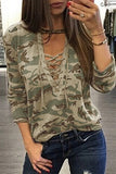 Khaki Camouflage Round Neck Lace Up Long Sleeve Shirt