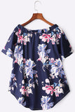 Navy Shoulder Floral Print Bell Sleeve Curved Hem Top
