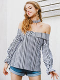 Black and White Striped Off Shoulder Lantern Sleeve Top