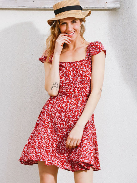 Red Floral Print Swing Criss Cross Back Dress