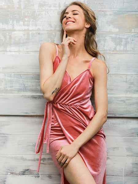Pink Wrap Tied Velvet Dress