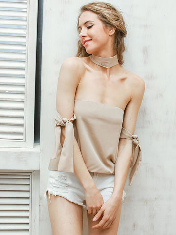Brown Choker Off Shoulder Tie Top