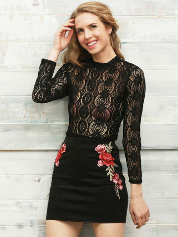 Black Lace Long Sleeve Transparent Blouse