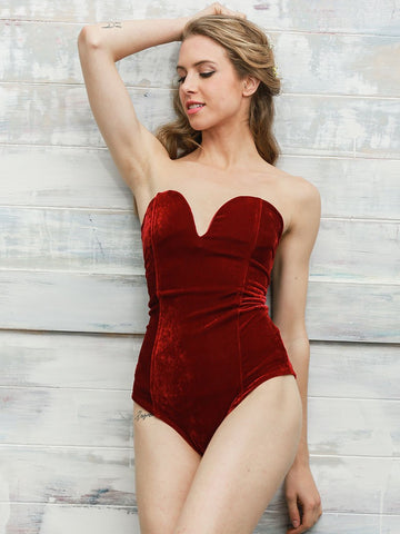 Red Lace Down Velvet Bodysuits
