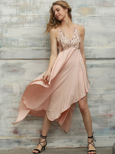 Peach Spaghetti Strap Anomalistic Sequin Dress