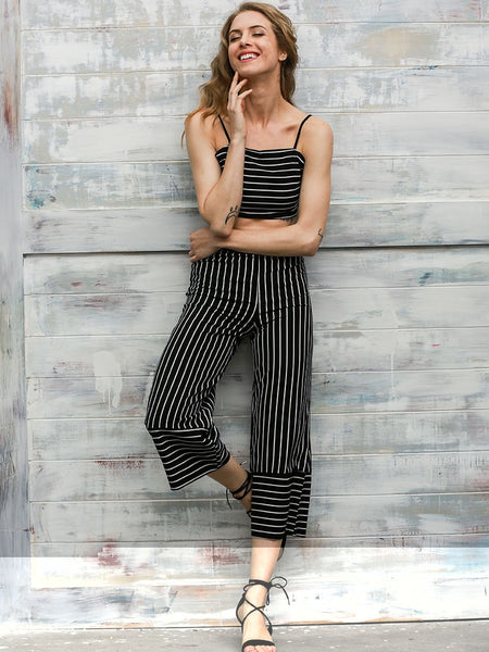 Black and White Striped Crop Top Long Romper