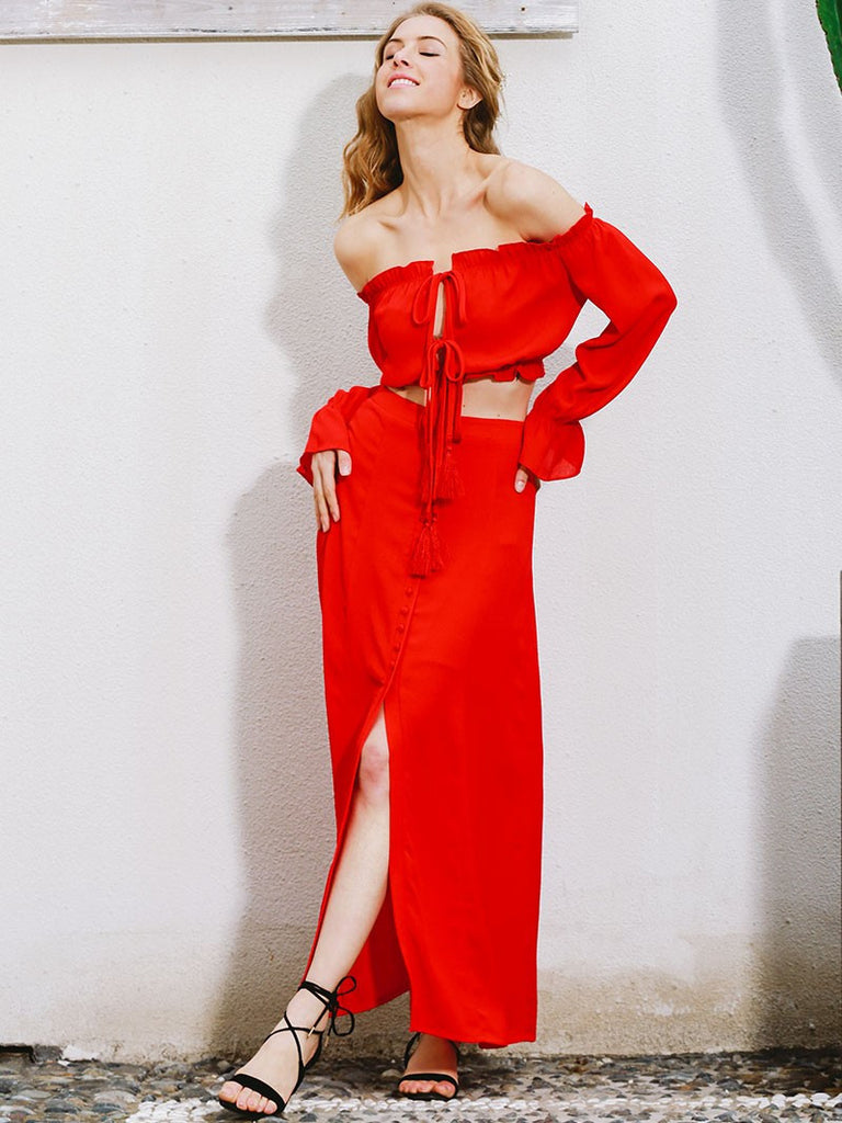 ddc73b7dbe Red Off Shoulder and Long A Line Terno Dress – Crystalline
