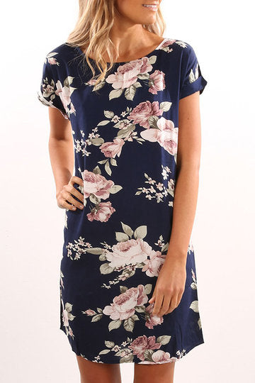 Navy Round Neck Short Cuffed Sleeve Floral Print Dress