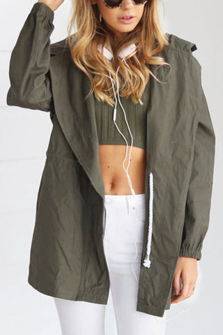 Army Green Drawstring With Hood Jacket