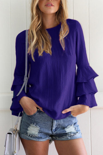 Blue Round Neck Layered Fluted Sleeve Keyhole Button Top