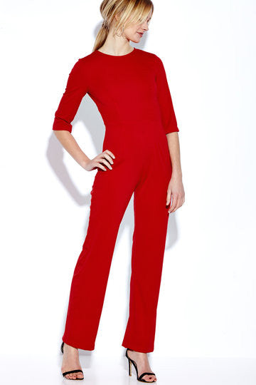 Red 3/4 Sleeve Backless Jumpsuit
