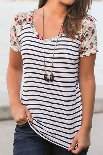Multicolor Floral Print Stripe Round Neck Short Sleeve Shirt