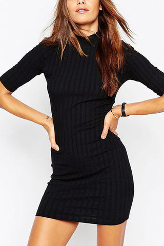 Black Crew Neck Knitted Dress