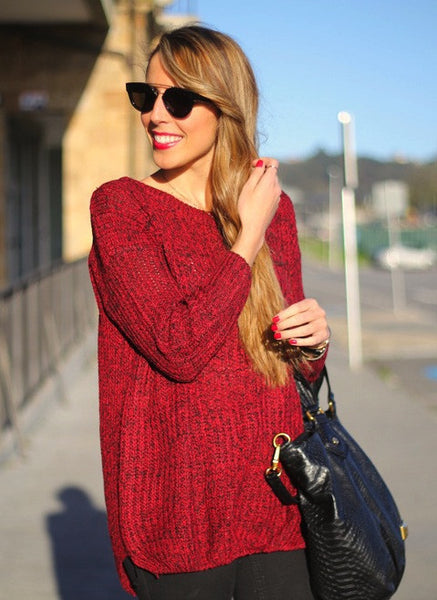 Red Oversized Loose Knit Sweater Fall Winter Fashion - Crystalline