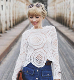 Fall Fashion White Long Sleeve Hollow Lace Shirt Blouse - Crystalline