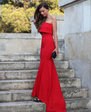 Red Strapless Maxi Dress - Crystalline