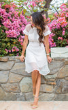 White Short Sleeve Hollow Sheer Dress Wedding Party - Crystalline