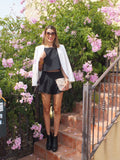 Black Short Sleeve Top With Shorts Suits - Crystalline