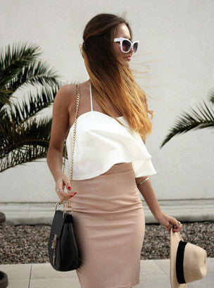 Spring Fashion - White Strapless Zipper Top With Pink Slim Skirt - Crystalline