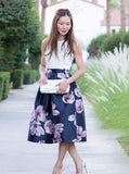 Navy Florals Flare Skirt With Zipper - Crystalline
