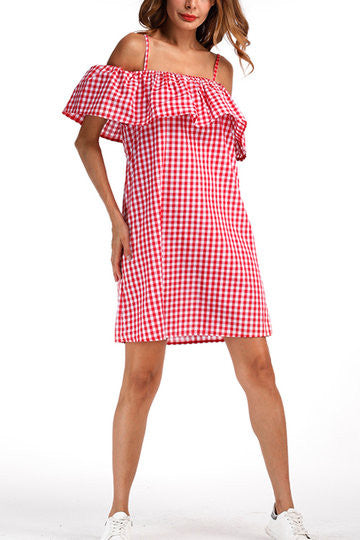 e80d5225f74b Red Checkered Off Shoulder Layered Tiered Mini Dress