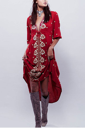 Red Floral Embroidered 3/4 Sleeve Maxi Dress