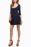 Black 3/4 Sleeves Open Back Skater Dress