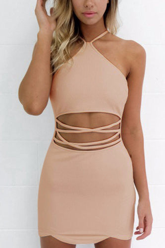 Pink Halter Neck Cut Out Waist Scalloped Hem Zip Back Dress