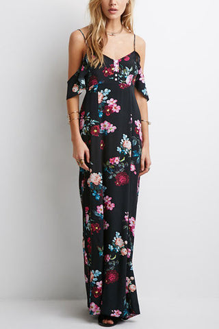 Black Cold Shoulder Floral Print Cami Maxi Dress