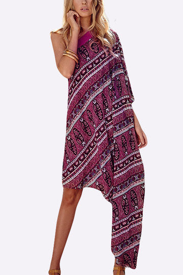 Purple Floral Print One-Shoulder Irregular Hem Midi Dress