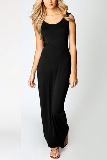 Black Sleeveless Scoop Neck Maxi Dress