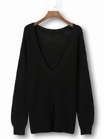 Black Long Sleeve Backless Loose Sweater - Crystalline