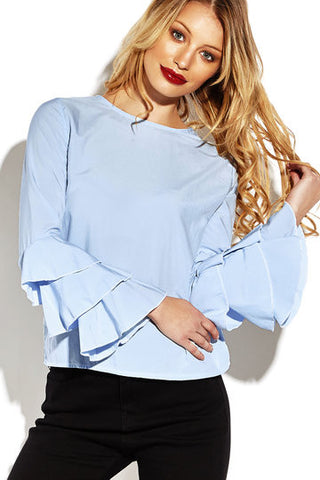 Blue Ruffle Sleeve Round Neck Blouse