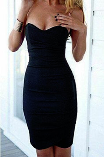 Black Strapless Bustier Zip Back Bodycon Dress
