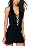 Black Halter Criss Cross Plunge Playsuit