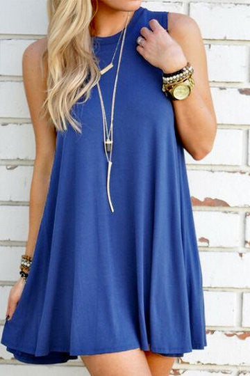 Blue Sleeveless Round Collar Loose Flowing Hem Mini Dress