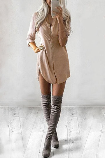 Khaki Front Button Long Sleeve Curved Hem Dress