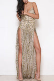 Apricot Tassels Sequins Splited Hem Slip Maxi Dress