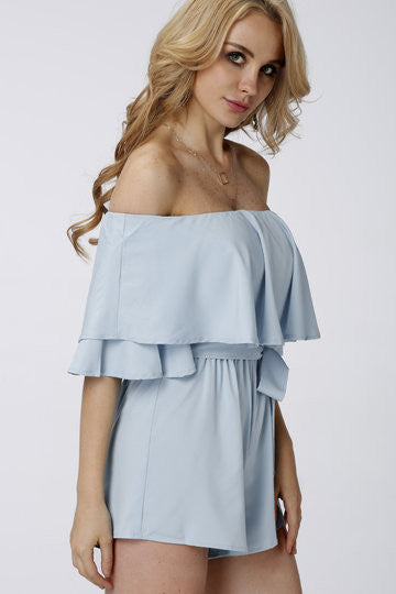 Blue Off Shoulder Layered Details Playsuit