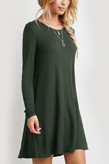 Army Green Round Neck Long Sleeve Loose A-Line Dress